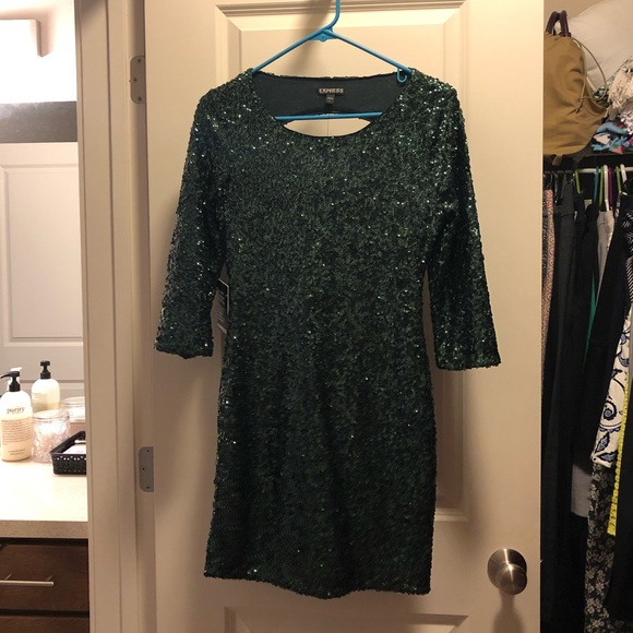 Express Dresses & Skirts - NWT Express Hunter Green Sequin Mini Dress